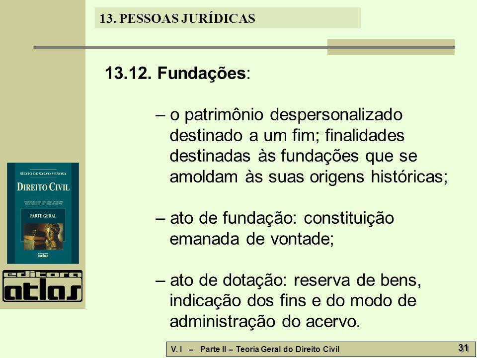 13. PESSOAS JURÍDICAS V. I – Parte II – Teoria Geral do Direito Civil 31 13.12. Fundações: – o patrimônio despersonalizado destinado a um fim; finalid