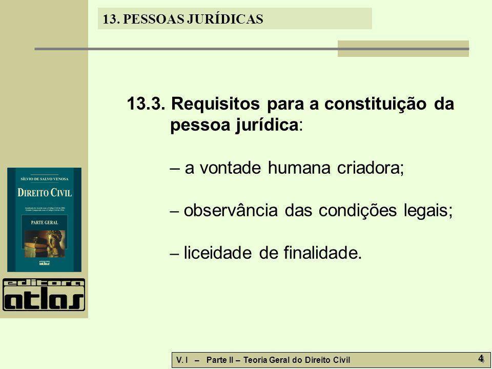 13. PESSOAS JURÍDICAS V. I – Parte II – Teoria Geral do Direito Civil 4 4 13.3. Requisitos para a constituição da pessoa jurídica: – a vontade humana