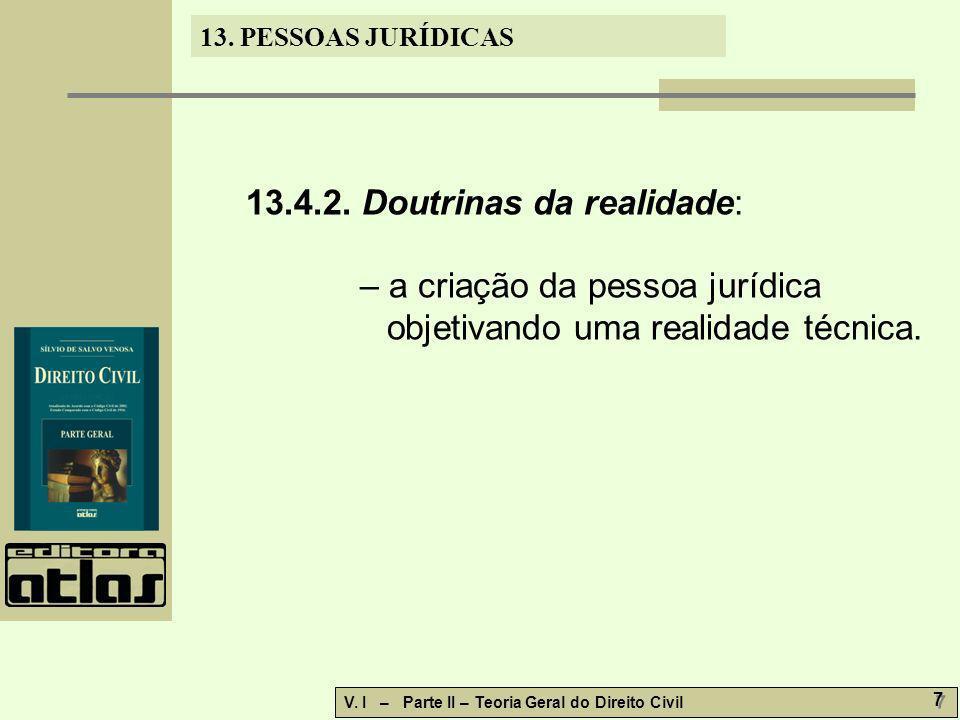 13.PESSOAS JURÍDICAS V. I – Parte II – Teoria Geral do Direito Civil 8 8 13.4.3.