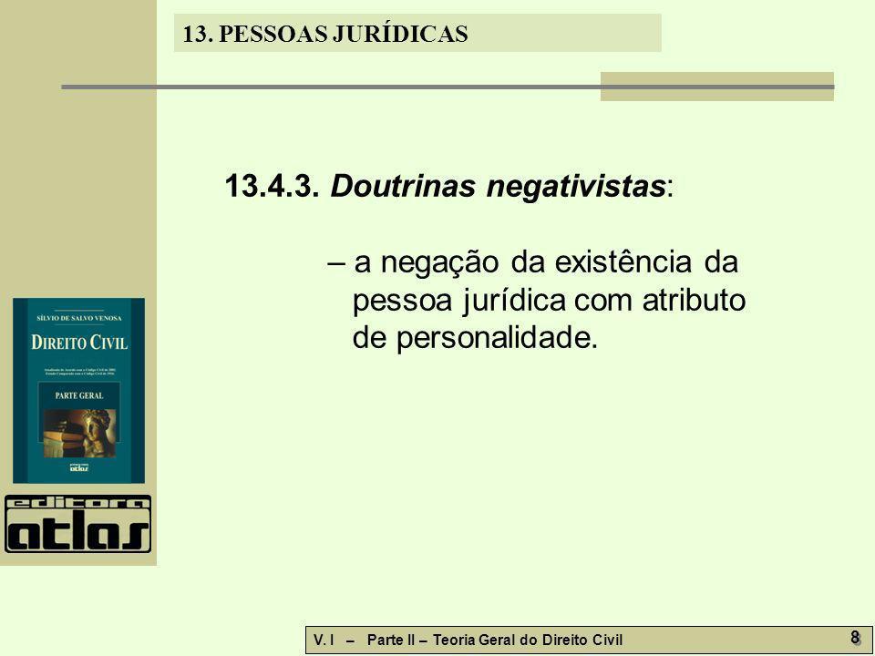 13.PESSOAS JURÍDICAS V. I – Parte II – Teoria Geral do Direito Civil 29 13.11.1.
