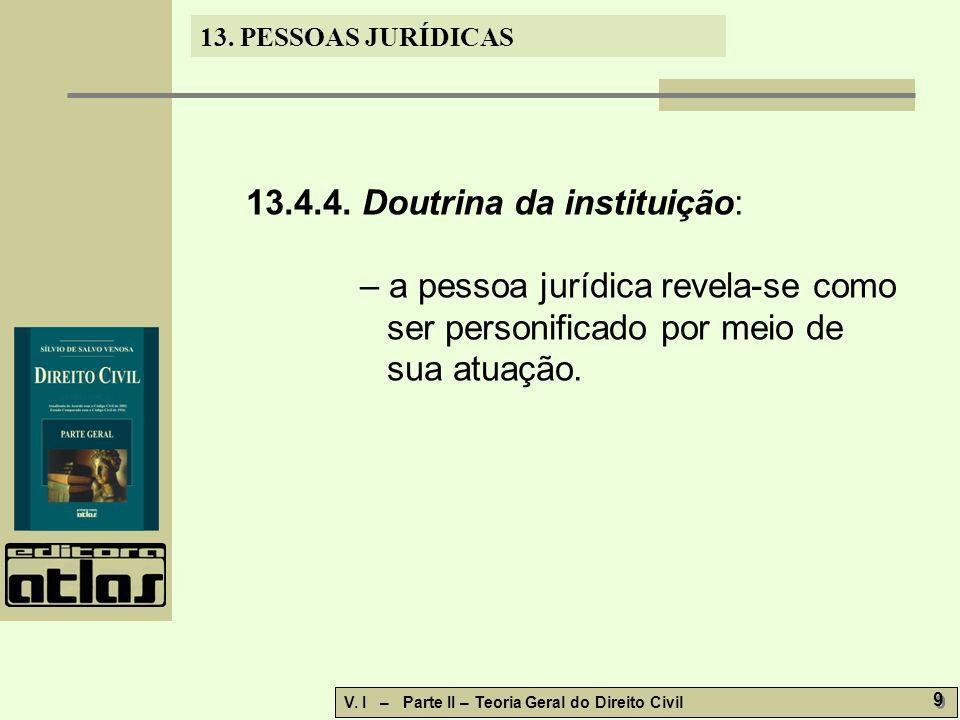 13. PESSOAS JURÍDICAS V. I – Parte II – Teoria Geral do Direito Civil 9 9 13.4.4. Doutrina da instituição: – a pessoa jurídica revela-se como ser pers