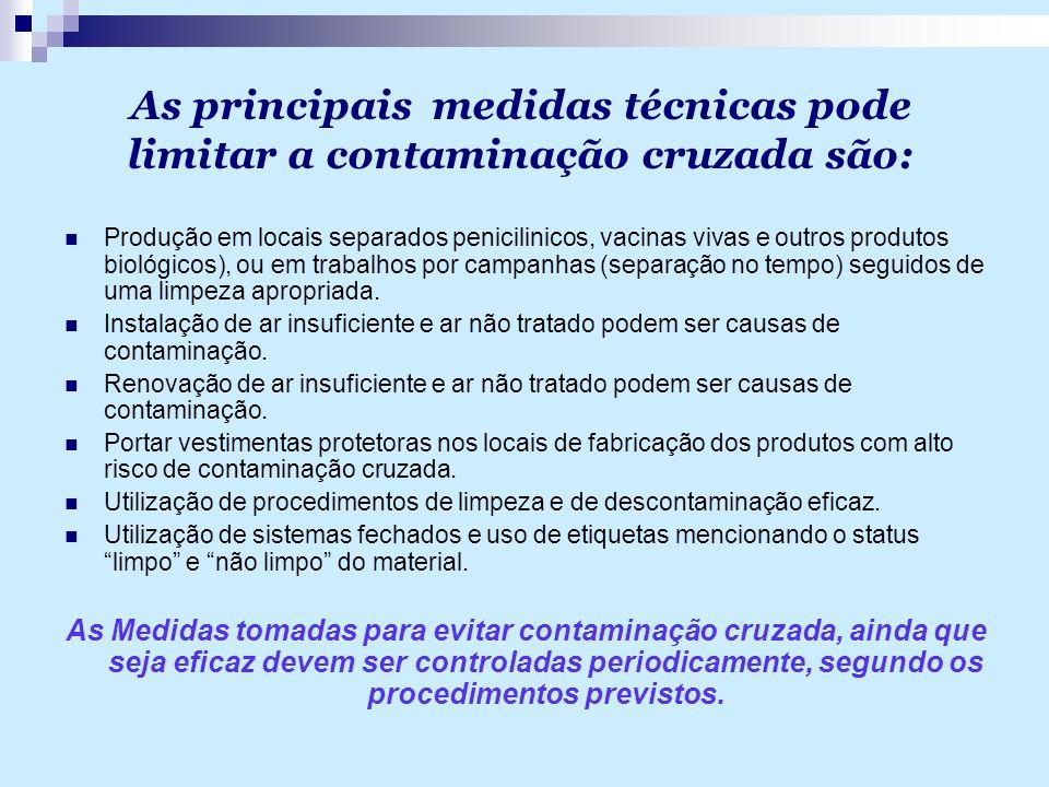As principais medidas técnicas pode limitar a contaminação cruzada são: Produção em locais separados penicilinicos, vacinas vivas e outros produtos bi