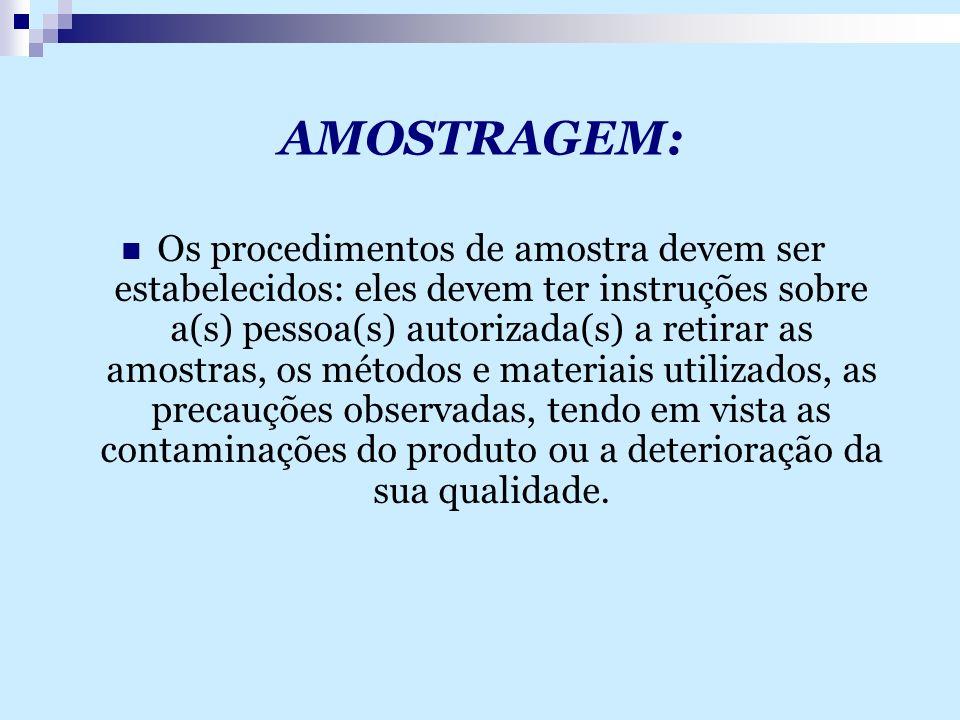 AMOSTRAGEM: Os procedimentos de amostra devem ser estabelecidos: eles devem ter instruções sobre a(s) pessoa(s) autorizada(s) a retirar as amostras, o