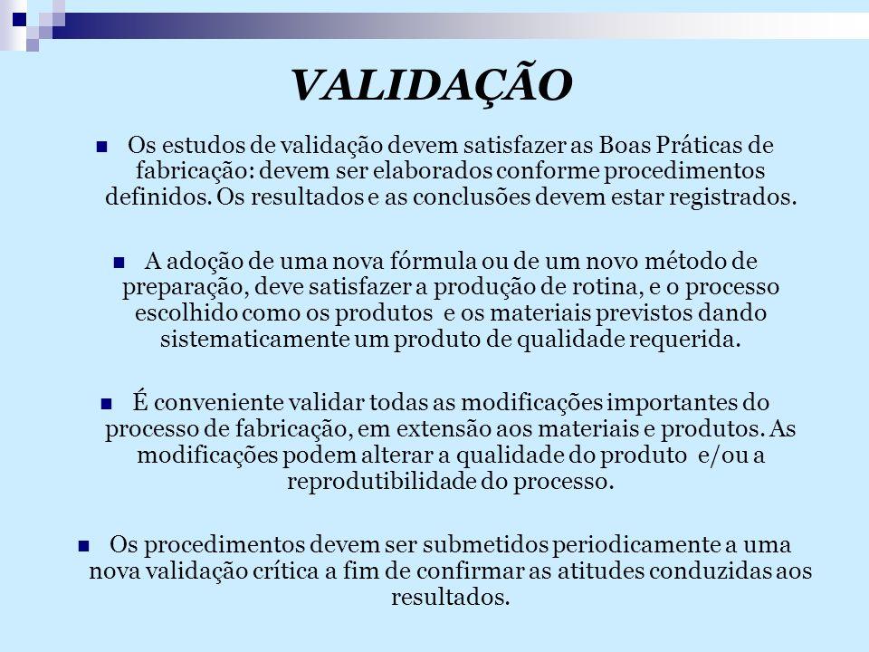 VALIDAÇÃO Os estudos de validação devem satisfazer as Boas Práticas de fabricação: devem ser elaborados conforme procedimentos definidos. Os resultado