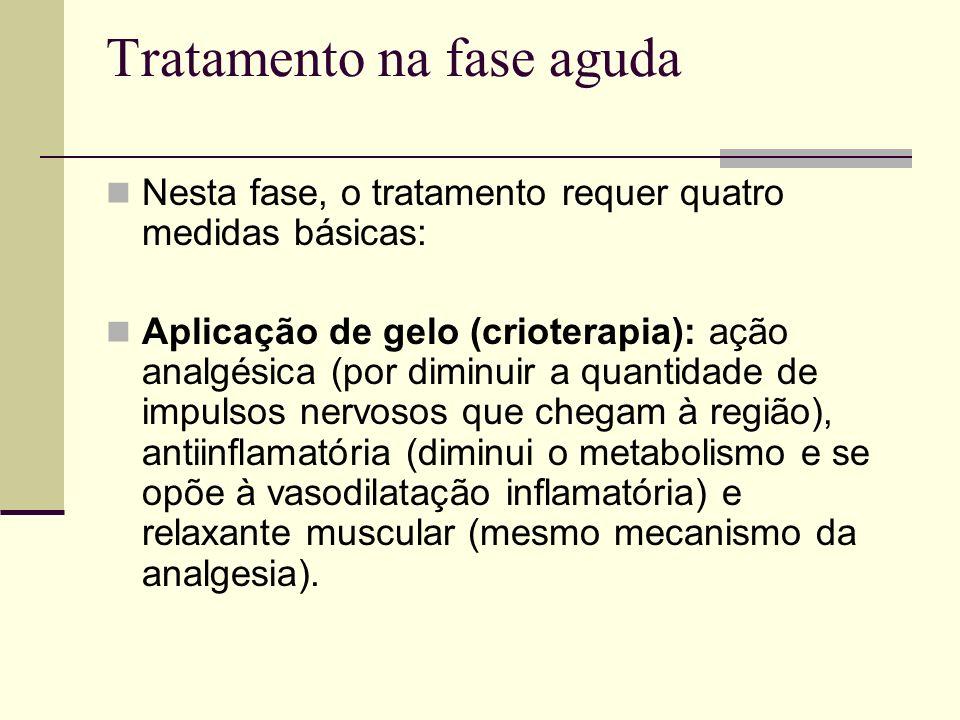 Tratamento na fase aguda Nesta fase, o tratamento requer quatro medidas básicas: Aplicação de gelo (crioterapia): ação analgésica (por diminuir a quan