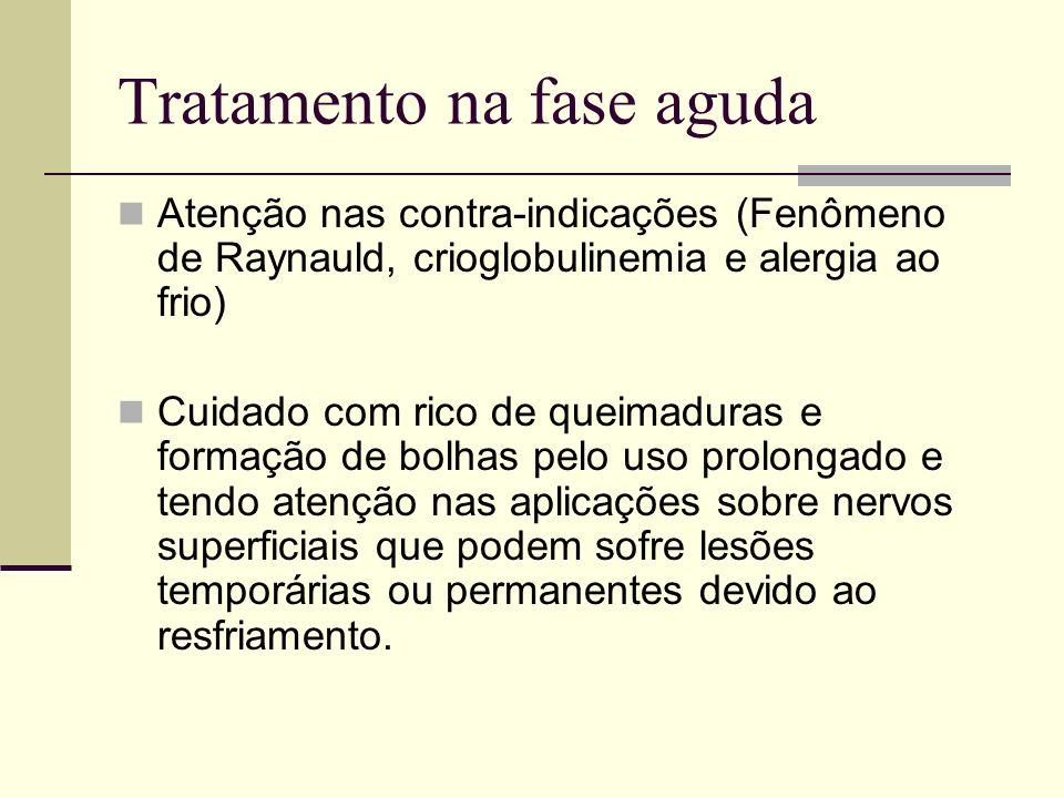 Tratamento na fase aguda Atenção nas contra-indicações (Fenômeno de Raynauld, crioglobulinemia e alergia ao frio) Cuidado com rico de queimaduras e fo