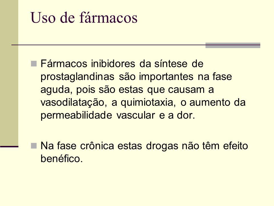 Uso de fármacos Fármacos inibidores da síntese de prostaglandinas são importantes na fase aguda, pois são estas que causam a vasodilatação, a quimiota