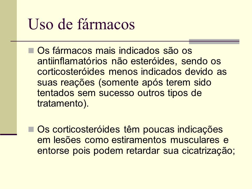 Uso de fármacos Os fármacos mais indicados são os antiinflamatórios não esteróides, sendo os corticosteróides menos indicados devido as suas reações (