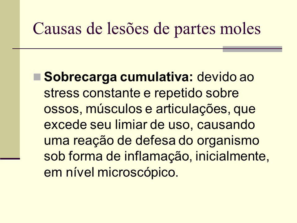 Causas de lesões de partes moles Sobrecarga cumulativa: devido ao stress constante e repetido sobre ossos, músculos e articulações, que excede seu lim