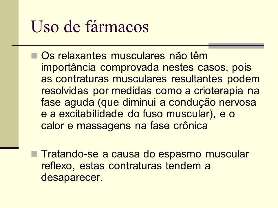 Uso de fármacos Os relaxantes musculares não têm importância comprovada nestes casos, pois as contraturas musculares resultantes podem resolvidas por