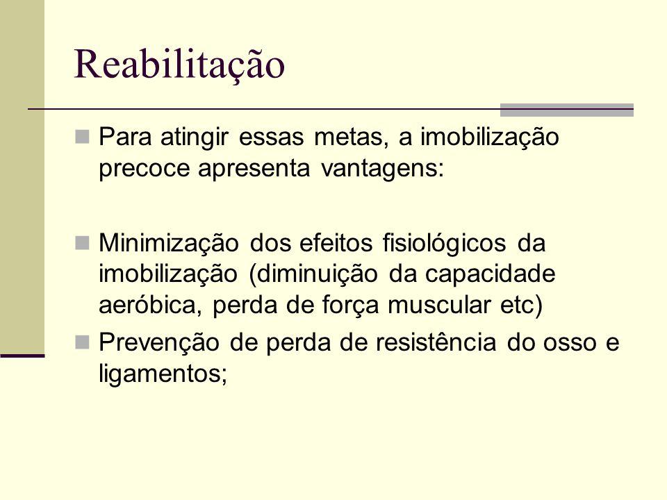 Reabilitação Para atingir essas metas, a imobilização precoce apresenta vantagens: Minimização dos efeitos fisiológicos da imobilização (diminuição da