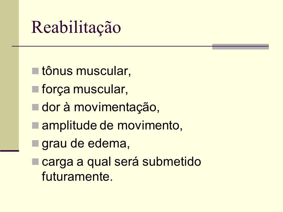 Reabilitação tônus muscular, força muscular, dor à movimentação, amplitude de movimento, grau de edema, carga a qual será submetido futuramente.