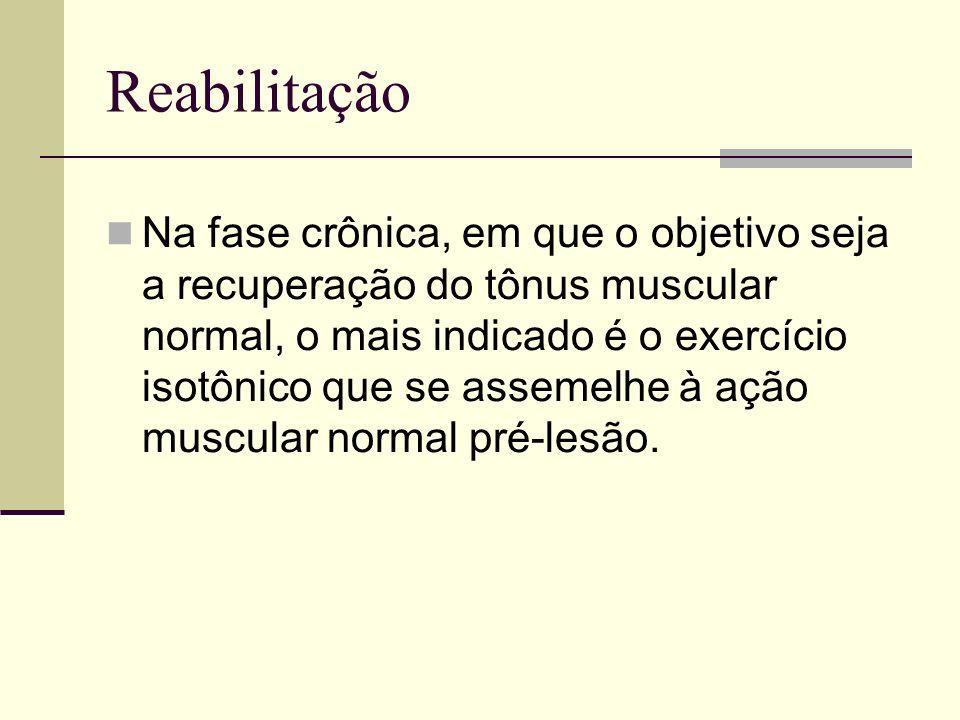 Reabilitação Na fase crônica, em que o objetivo seja a recuperação do tônus muscular normal, o mais indicado é o exercício isotônico que se assemelhe