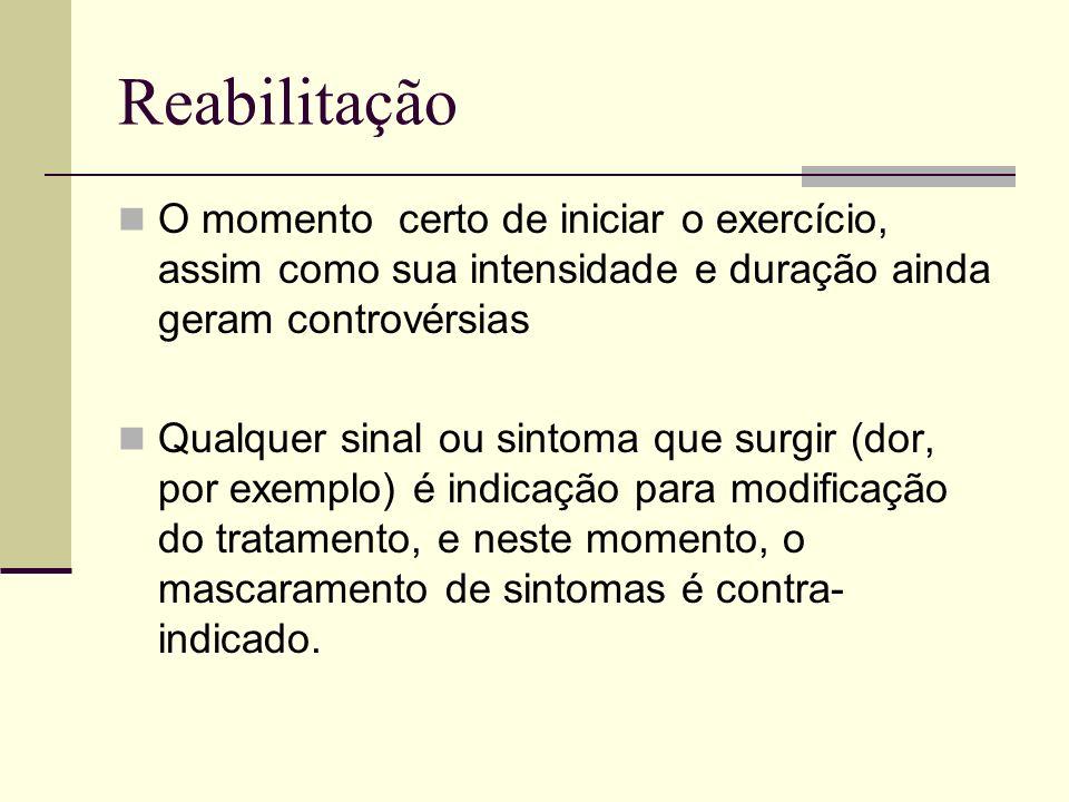 Reabilitação O momento certo de iniciar o exercício, assim como sua intensidade e duração ainda geram controvérsias Qualquer sinal ou sintoma que surg