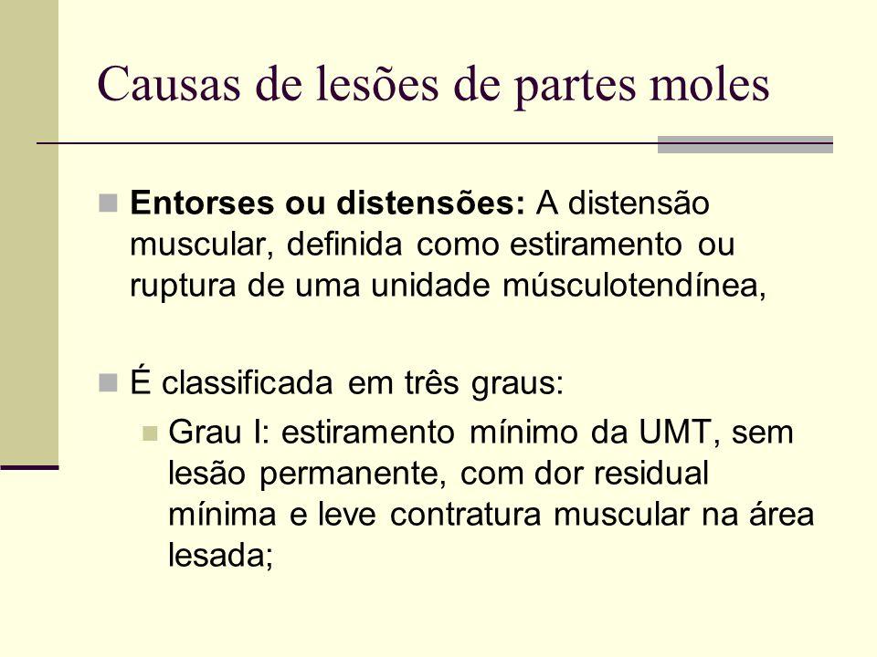 Causas de lesões de partes moles Entorses ou distensões: A distensão muscular, definida como estiramento ou ruptura de uma unidade músculotendínea, É