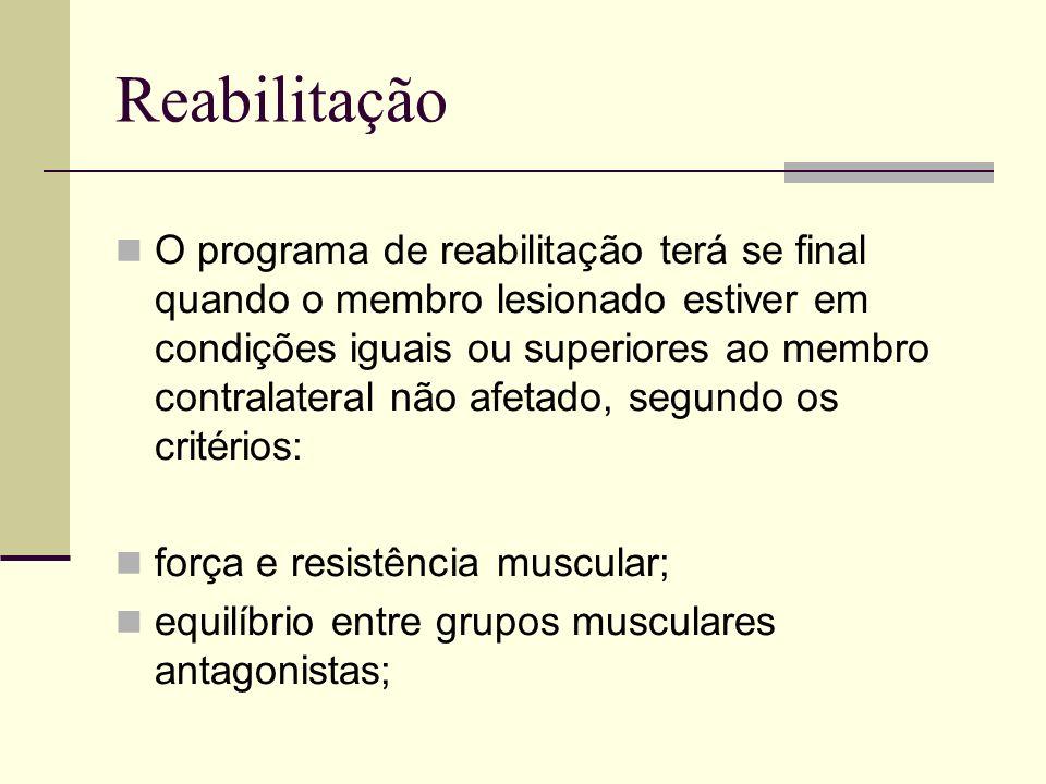 Reabilitação O programa de reabilitação terá se final quando o membro lesionado estiver em condições iguais ou superiores ao membro contralateral não