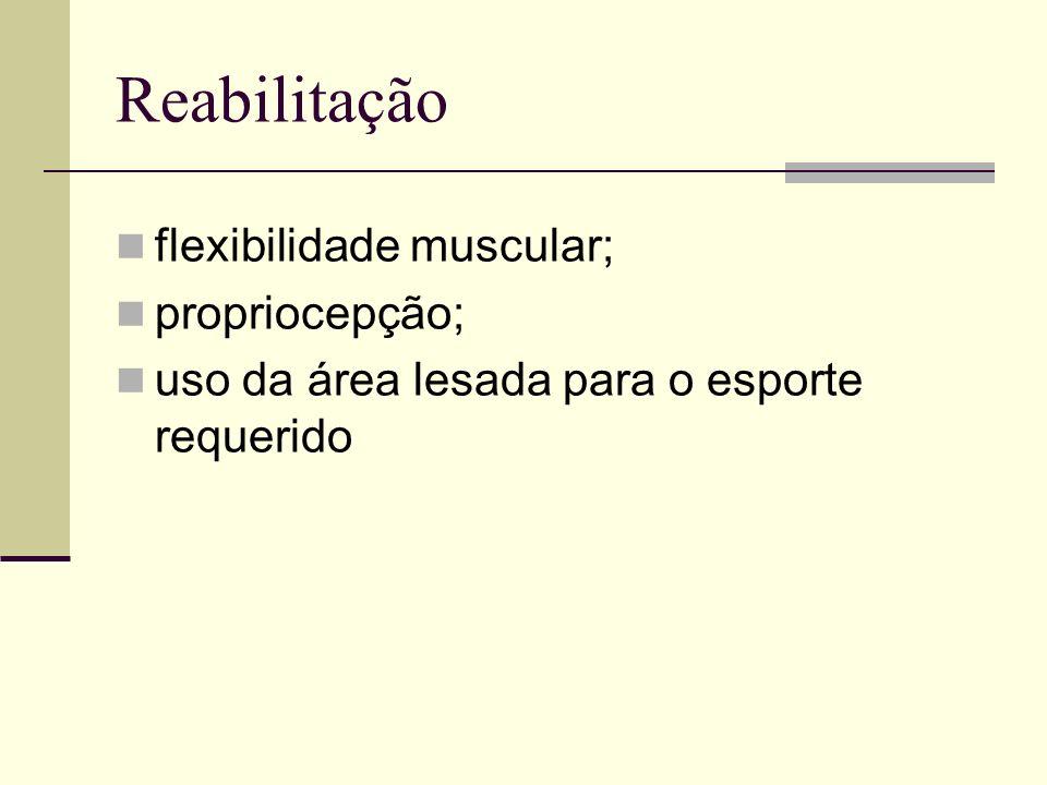 Reabilitação flexibilidade muscular; propriocepção; uso da área lesada para o esporte requerido