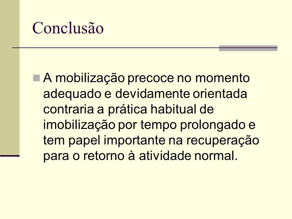 Conclusão A mobilização precoce no momento adequado e devidamente orientada contraria a prática habitual de imobilização por tempo prolongado e tem pa