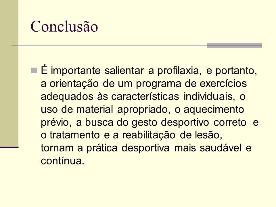 Conclusão É importante salientar a profilaxia, e portanto, a orientação de um programa de exercícios adequados às características individuais, o uso d
