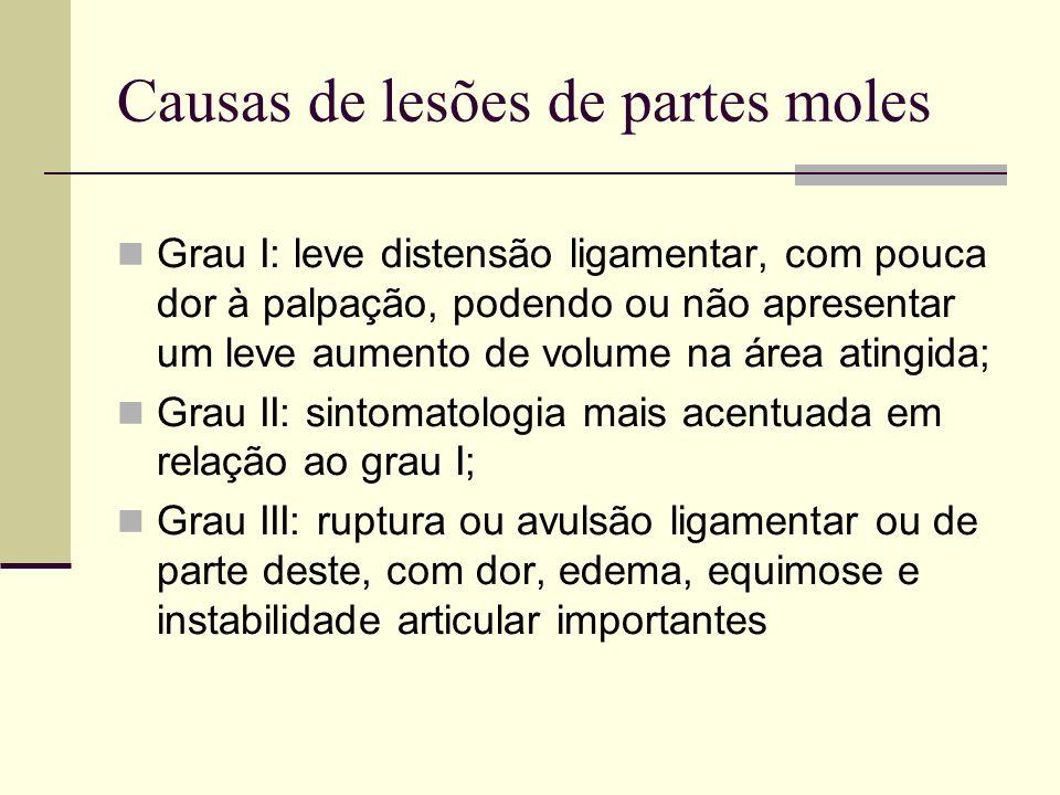 Causas de lesões de partes moles Grau I: leve distensão ligamentar, com pouca dor à palpação, podendo ou não apresentar um leve aumento de volume na á