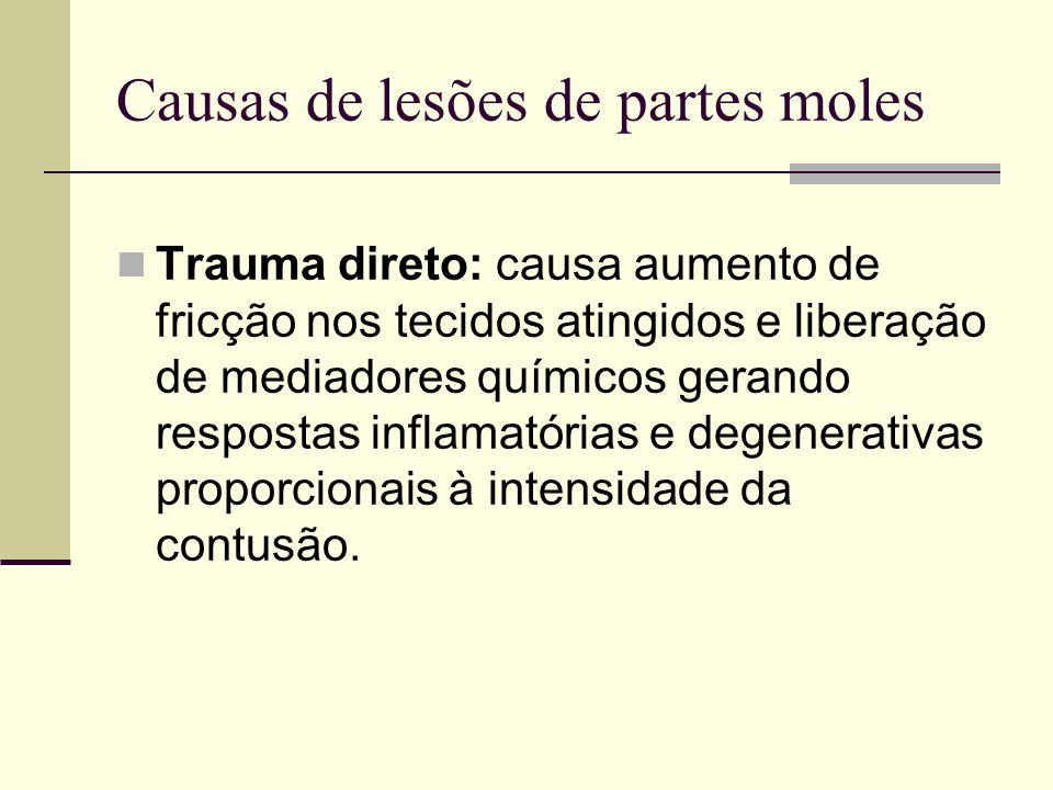 Causas de lesões de partes moles Trauma direto: causa aumento de fricção nos tecidos atingidos e liberação de mediadores químicos gerando respostas in