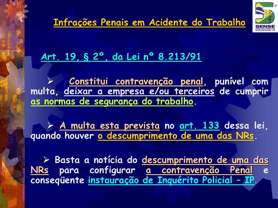 Infrações Penais em Acidente do Trabalho Art. 19, § 2º, da Lei nº 8.213/91 Constitui contravenção penal Constitui contravenção penal, punível com mult