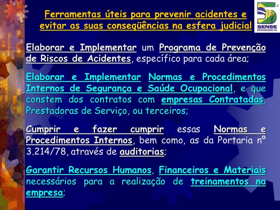 Ferramentas úteis para prevenir acidentes e evitar as suas conseqüências na esfera judicial Elaborar e ImplementarPrograma de Prevenção de Riscos de A