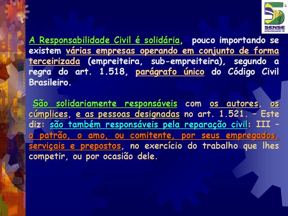 A Responsabilidade Civil é solidária várias empresas operando em conjunto de forma terceirizada parágrafo único A Responsabilidade Civil é solidária,