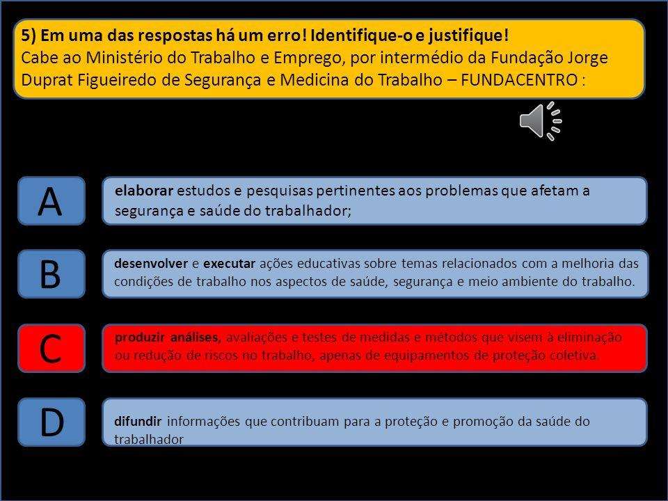 5) Em uma das respostas há um erro! Identifique-o e justifique! Cabe ao Ministério do Trabalho e Emprego, por intermédio da Fundação Jorge Duprat Figu