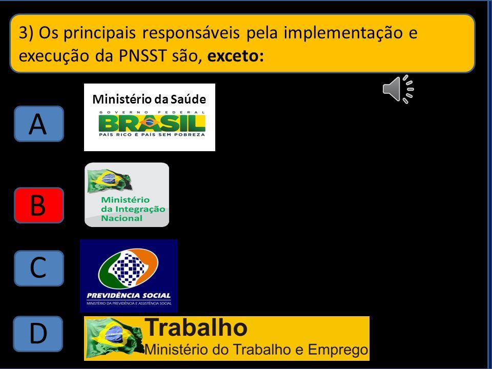 3) Os principais responsáveis pela implementação e execução da PNSST são, exceto: A B C D D Ministério da Saúde