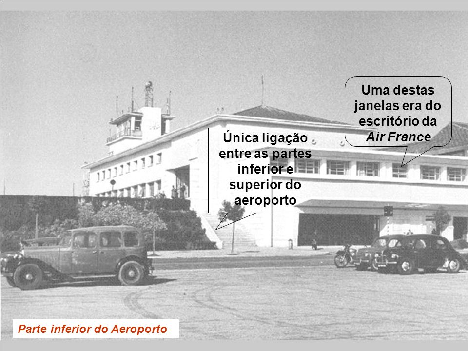 Parte inferior do Aeroporto Única ligação entre as partes inferior e superior do aeroporto Uma destas janelas era do escritório da Air France