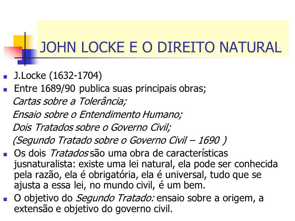 JOHN LOCKE E O DIREITO NATURAL J.Locke (1632-1704) Entre 1689/90 publica suas principais obras; Cartas sobre a Tolerância; Ensaio sobre o Entendimento