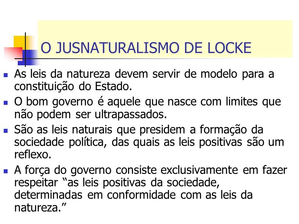 O JUSNATURALISMO DE LOCKE As leis da natureza devem servir de modelo para a constituição do Estado. O bom governo é aquele que nasce com limites que n
