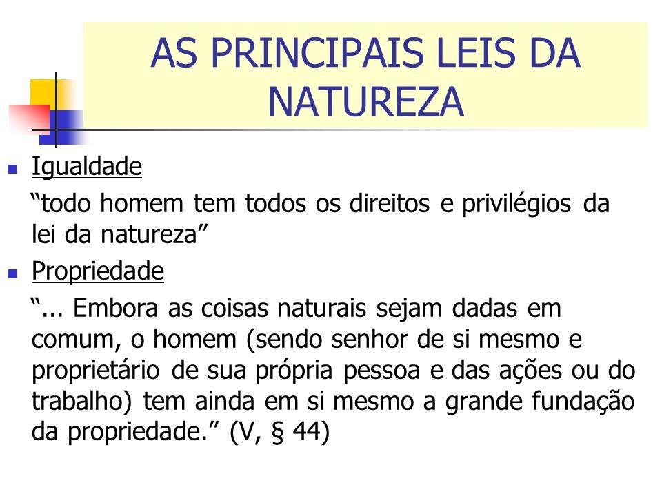 AS PRINCIPAIS LEIS DA NATUREZA Igualdade todo homem tem todos os direitos e privilégios da lei da natureza Propriedade... Embora as coisas naturais se