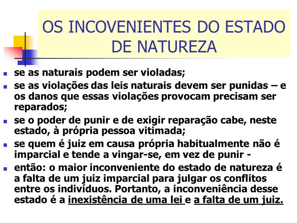 OS INCOVENIENTES DO ESTADO DE NATUREZA se as naturais podem ser violadas; se as violações das leis naturais devem ser punidas – e os danos que essas v