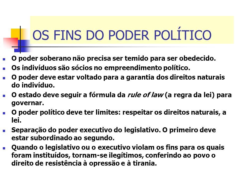 OS FINS DO PODER POLÍTICO O poder soberano não precisa ser temido para ser obedecido. Os indivíduos são sócios no empreendimento político. O poder dev