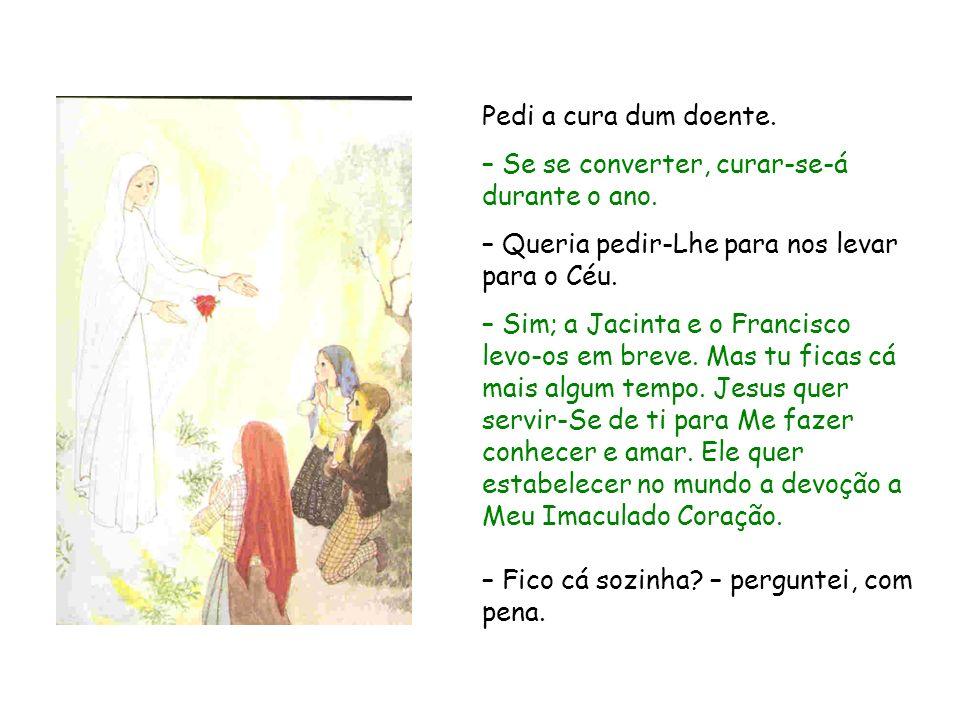 Pedi a cura dum doente. – Se se converter, curar se á durante o ano. – Queria pedir-Lhe para nos levar para o Céu. – Sim; a Jacinta e o Francisco levo