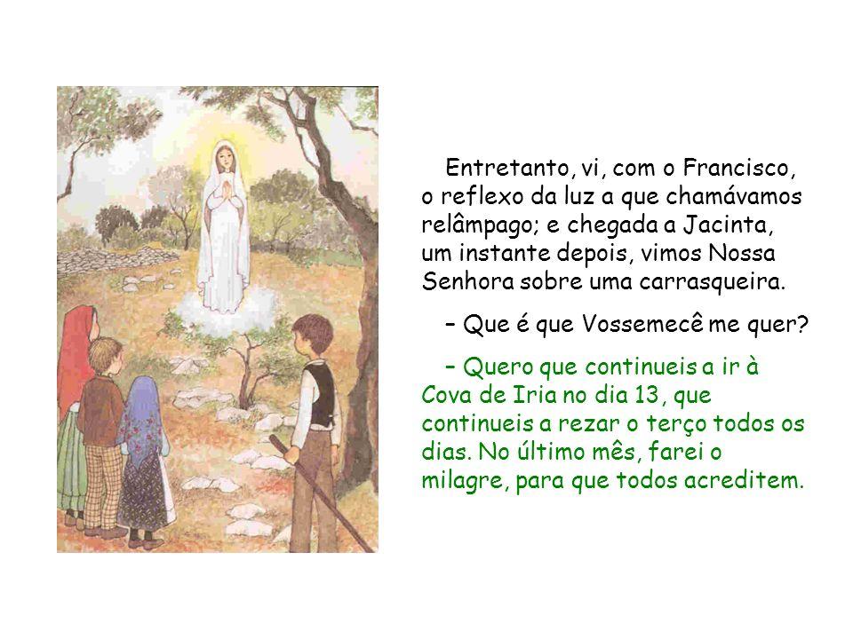 Entretanto, vi, com o Francisco, o reflexo da luz a que chamávamos relâmpago; e chegada a Jacinta, um instante depois, vimos Nossa Senhora sobre uma c