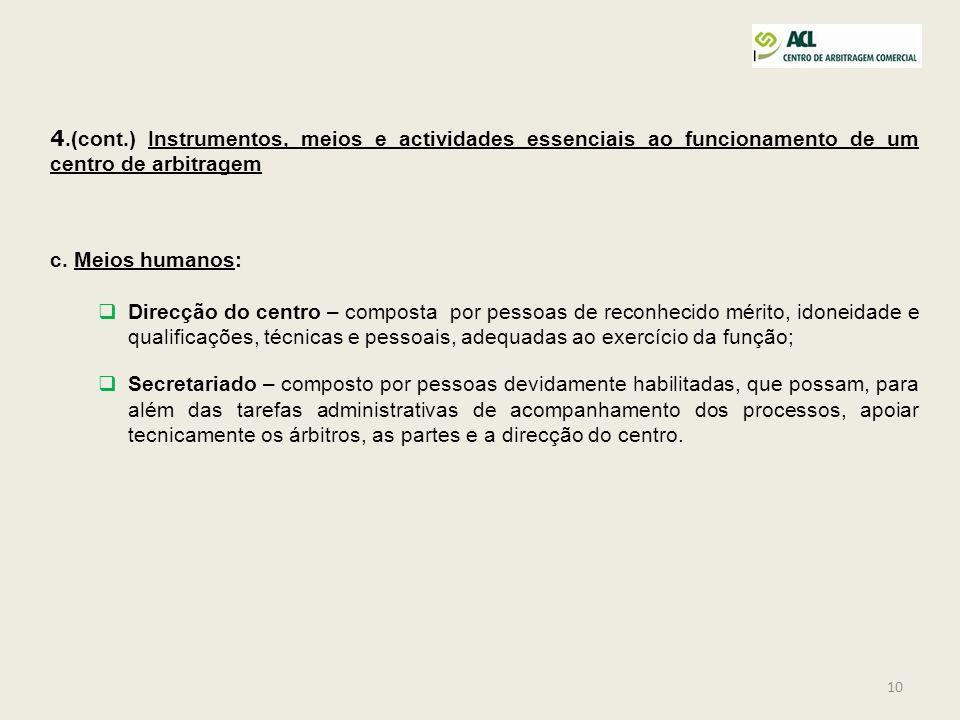 10 4.(cont.) Instrumentos, meios e actividades essenciais ao funcionamento de um centro de arbitragem c. Meios humanos: Direcção do centro – composta