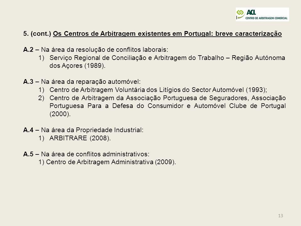 13 5. (cont.) Os Centros de Arbitragem existentes em Portugal: breve caracterização A.2 – Na área da resolução de conflitos laborais: 1)Serviço Region