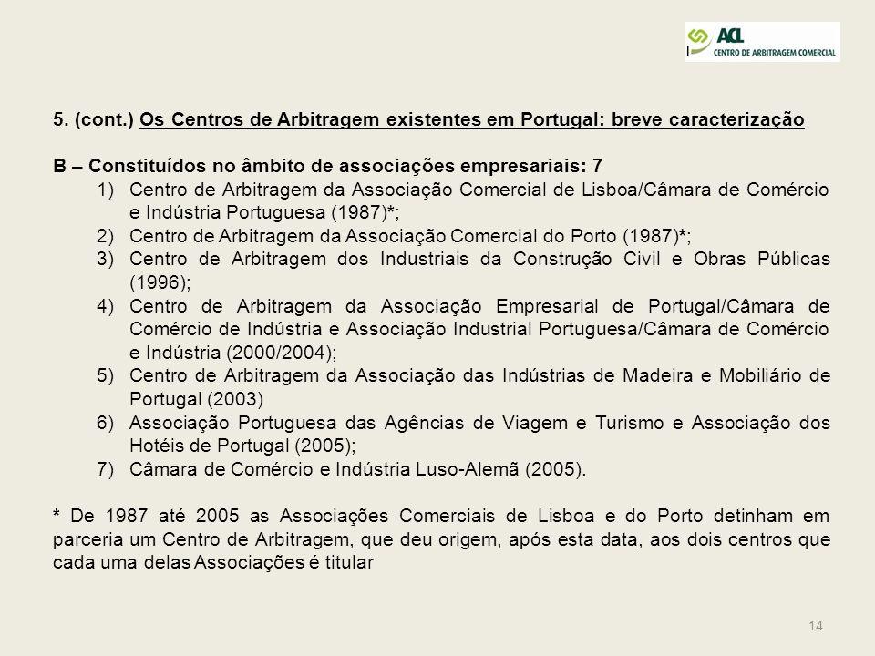 14 5. (cont.) Os Centros de Arbitragem existentes em Portugal: breve caracterização B – Constituídos no âmbito de associações empresariais: 7 1)Centro