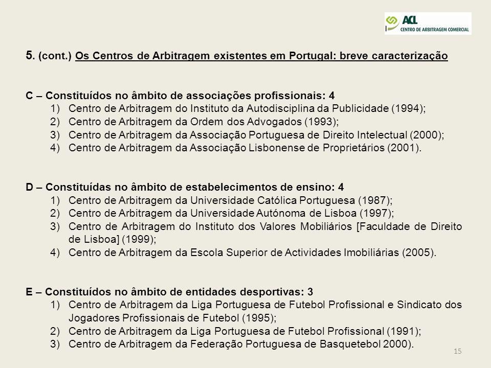 15 5. (cont.) Os Centros de Arbitragem existentes em Portugal: breve caracterização C – Constituídos no âmbito de associações profissionais: 4 1)Centr