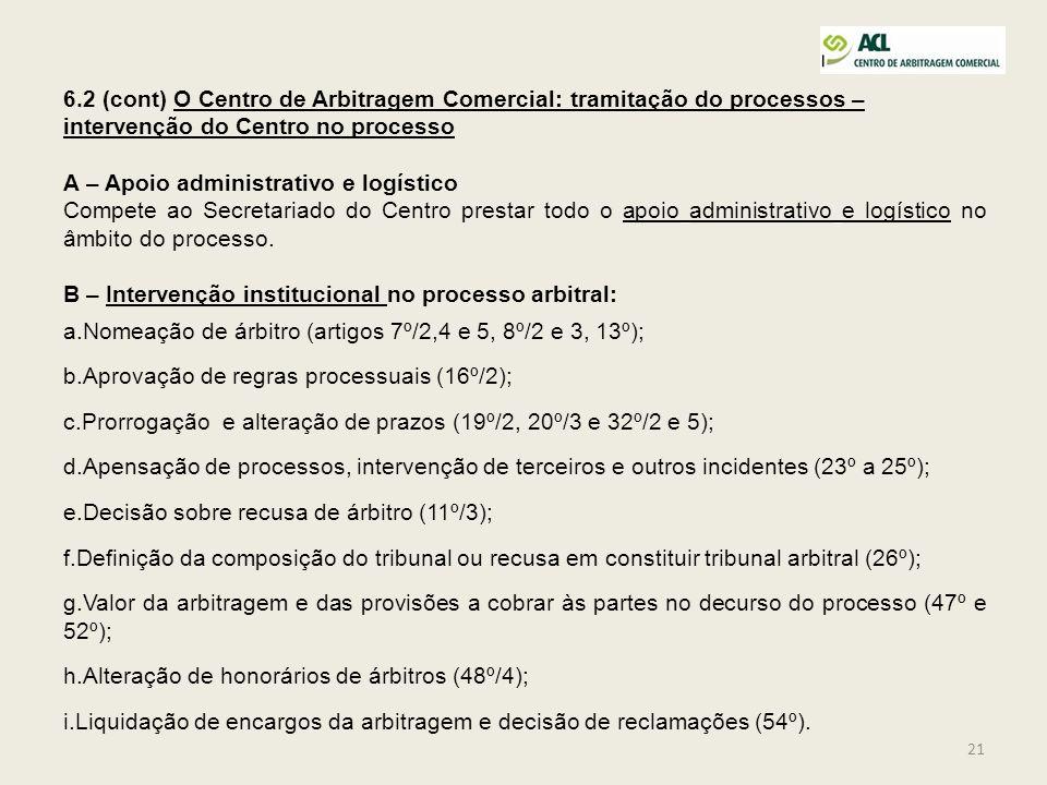 21 6.2 (cont) O Centro de Arbitragem Comercial: tramitação do processos – intervenção do Centro no processo A – Apoio administrativo e logístico Compe
