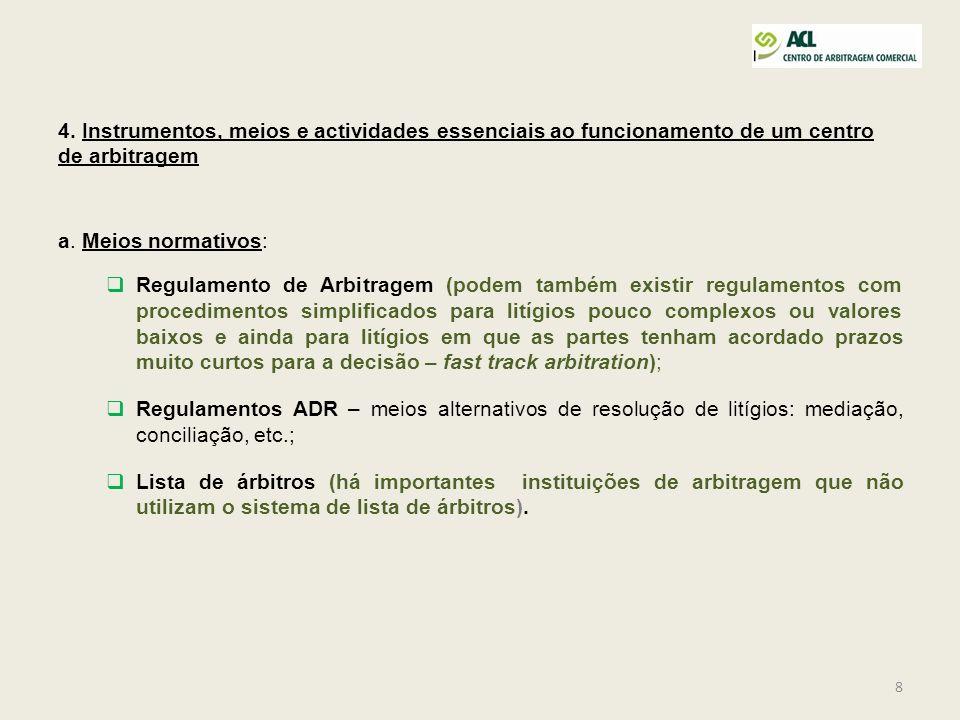 8 4. Instrumentos, meios e actividades essenciais ao funcionamento de um centro de arbitragem a. Meios normativos: Regulamento de Arbitragem (podem ta