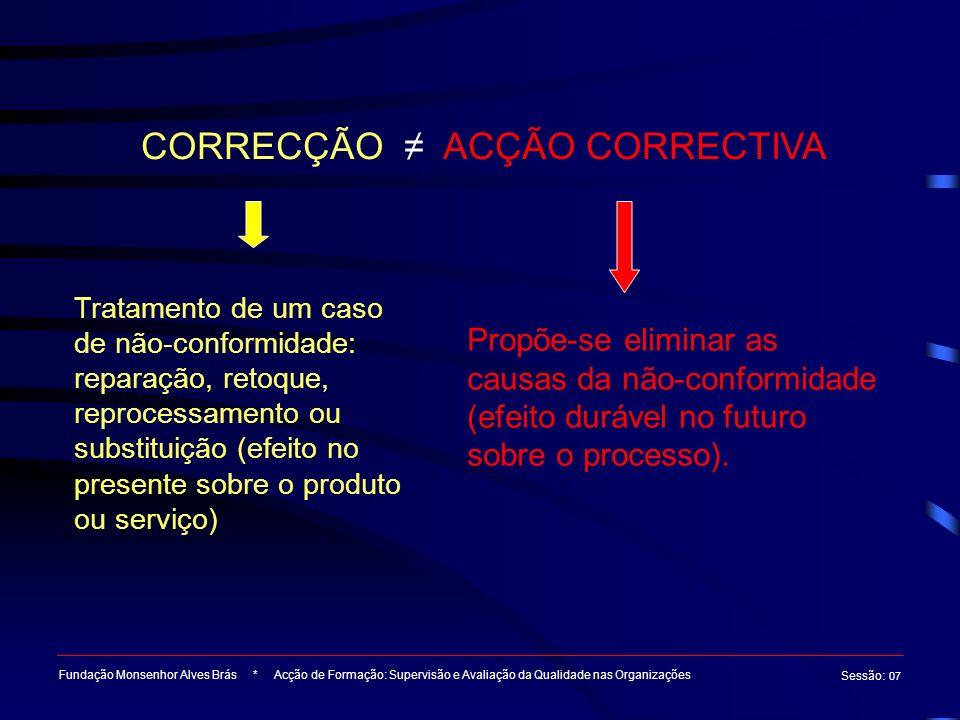 Fundação Monsenhor Alves Brás * Acção de Formação: Supervisão e Avaliação da Qualidade nas Organizações Sessão : 07 CORRECÇÃO ACÇÃO CORRECTIVA Tratame