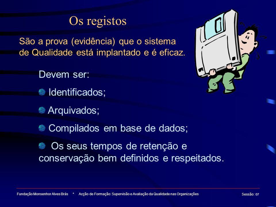 Os registos Fundação Monsenhor Alves Brás * Acção de Formação: Supervisão e Avaliação da Qualidade nas Organizações Sessão : 07 São a prova (evidência