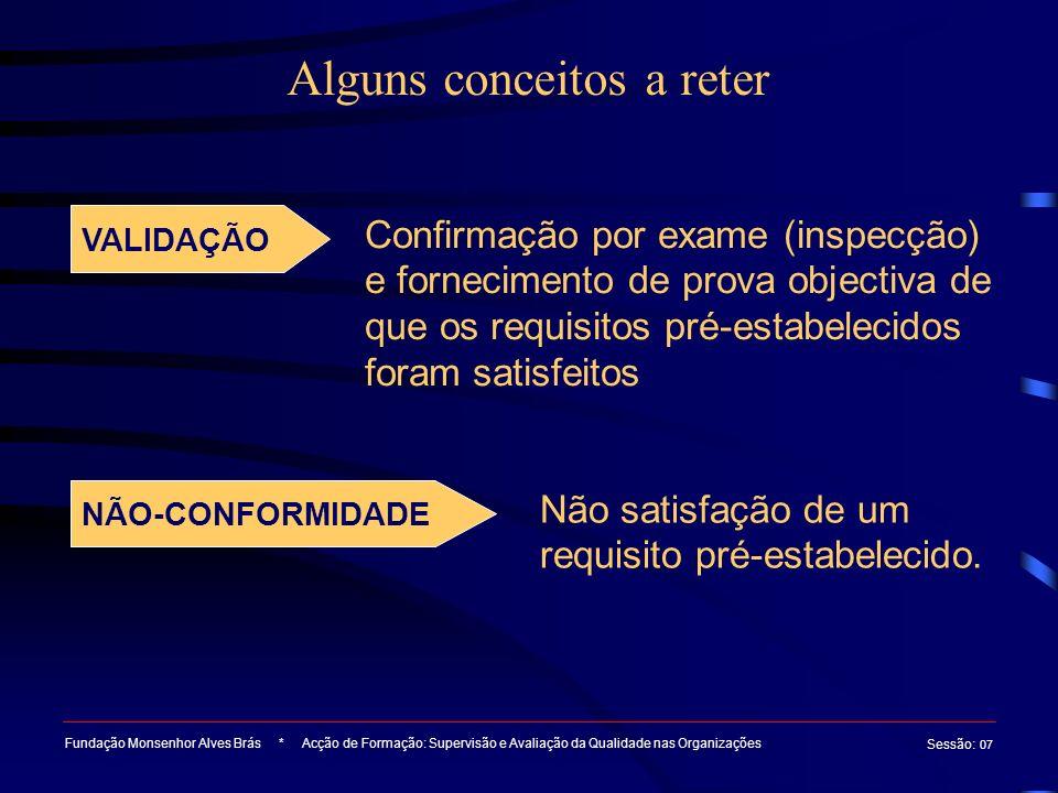 Alguns conceitos a reter Fundação Monsenhor Alves Brás * Acção de Formação: Supervisão e Avaliação da Qualidade nas Organizações Sessão : 07 VALIDAÇÃO