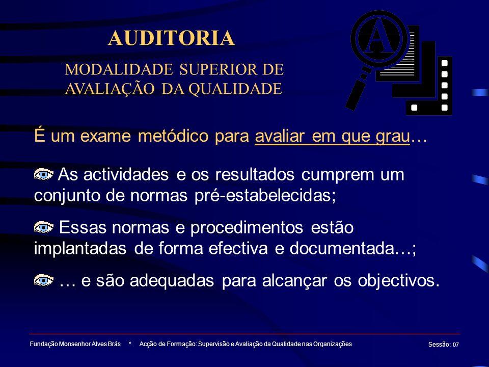 AUDITORIA Fundação Monsenhor Alves Brás * Acção de Formação: Supervisão e Avaliação da Qualidade nas Organizações Sessão : 07 MODALIDADE SUPERIOR DE A