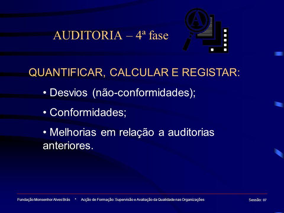 AUDITORIA – 4ª fase Fundação Monsenhor Alves Brás * Acção de Formação: Supervisão e Avaliação da Qualidade nas Organizações Sessão : 07 QUANTIFICAR, C