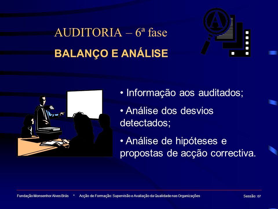 AUDITORIA – 6ª fase Fundação Monsenhor Alves Brás * Acção de Formação: Supervisão e Avaliação da Qualidade nas Organizações Sessão : 07 Informação aos